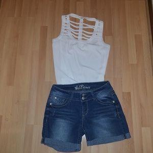 Wallflower shorts + MINE casual top